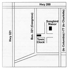 Songbird Manor Bed & Breakfast, Area Map