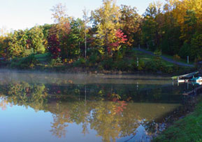 Pilot Knob Inn Fall lake view