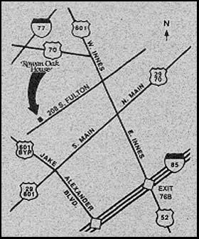 Rowan Oak House Bed & Breakfast Map