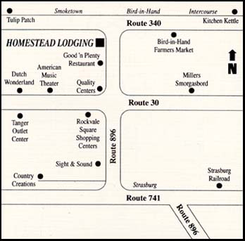 Homestead Lodging - Smoketown, Pennsylvania Map
