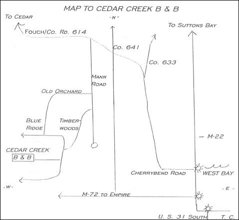 Cedar Creek Bed & Breakfast - 7671 East Timberwoods Drive - Traverse City, Michigan