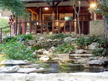 Creekhaven Inn Waterfall in front of Inn office