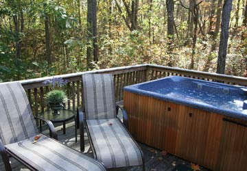 Hot tub decks for Sunset and Ivy Cottage.