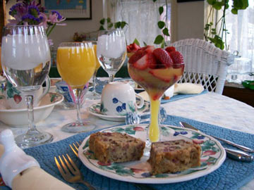 Strawberries in Mimosa with Strawberry Pecan Bread