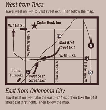 Cedar Rock Inn Bed and Breakfast-Tulsa Map