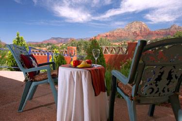 A Sunset Chateau B&B,  blue chairs