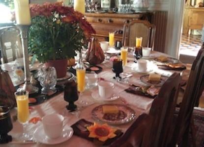 The Steamboat House Bed & Breakfast breakfast table