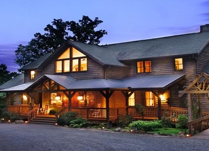 Elegantly rustic lodge only yards from the Blue Ridge Parkway and 10 miles from the center of Asheville.