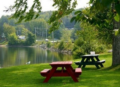 The Brewster Inn-picnic tables near the water