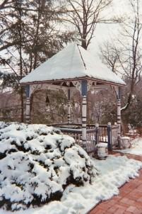 1870 Wedgwood Inn of New Hope,  snowy gazebo