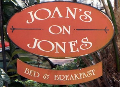 Joan's On Jones, bed and breakfast sign