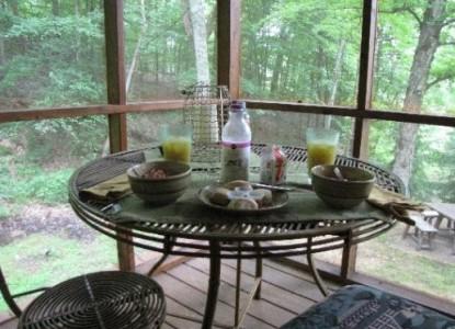 The Cabin at Cedar Run Farm breakfast table