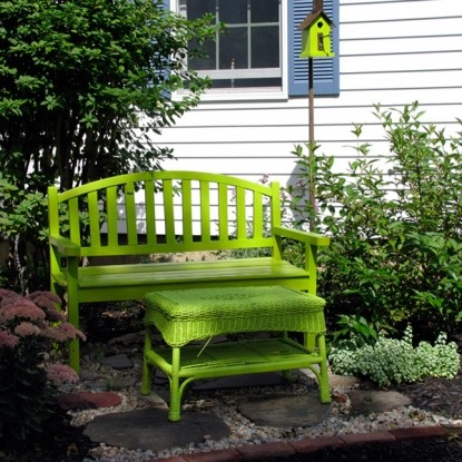 The Country Cape Bed and Breakfast green bench