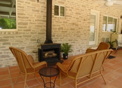 Meyer Bed and Breakfast on Cypress Creek fireplace