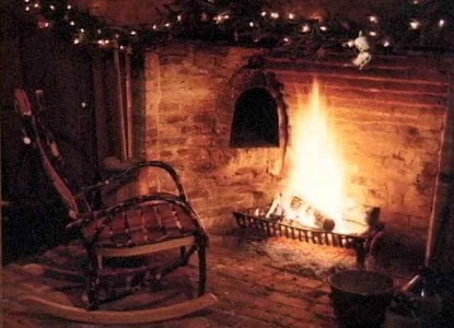 Peppermint Cottage Bed and Breakfast-Rocking Chair by Fireplace
