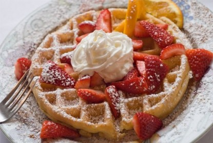 The Lamplight Inn Bed and Breakfast, strawberry waffle