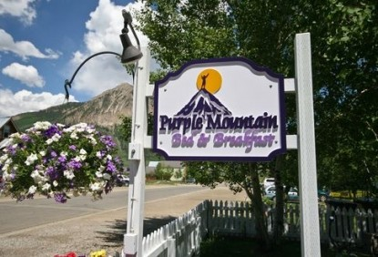 Purple Mountain Bed and Breakfast & Spa front sign