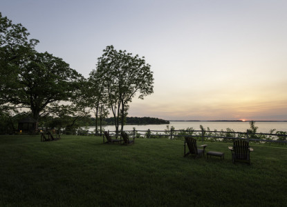 Great Oak Manor Bed & Breakfast on the Chesapeake Bay Lake and sunset