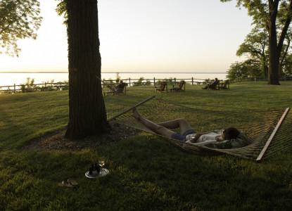 Great Oak Manor Bed & Breakfast on the Chesapeake Bay sunset back yard hammock
