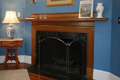 Chart Room, fireplace closeup