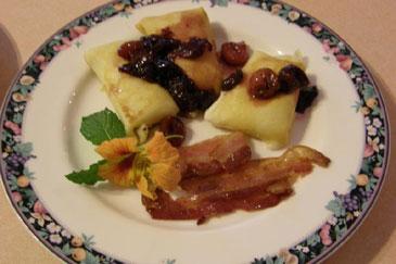 Brookside Manor Bed & Breakfast Breakfast Cherry Crepes