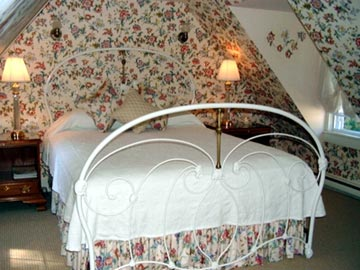 Queen Size White and Brass Bed