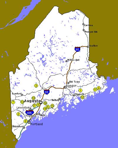 Jefferson Maine Map.Maine Farm Vacation Bed Breakfast Association Maine Maine