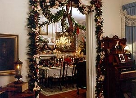 Drawing Room and Dining Room at Christmas