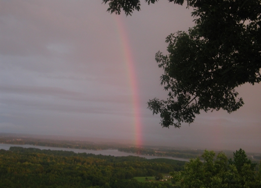 Rainbow over Lake Weiss as seen from The Secret