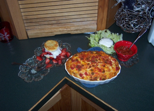 Mexican Casserole along with salsa/lettuce/sour cream and another favorite is strawberry shortcake