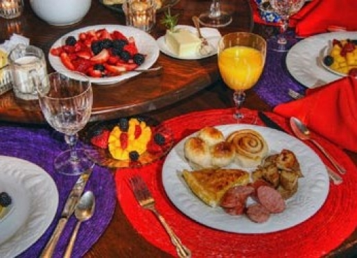 Candlelight breakfast may include eggs, fresh fruit and meat, potatos, breads & hot coffee at 9 am.