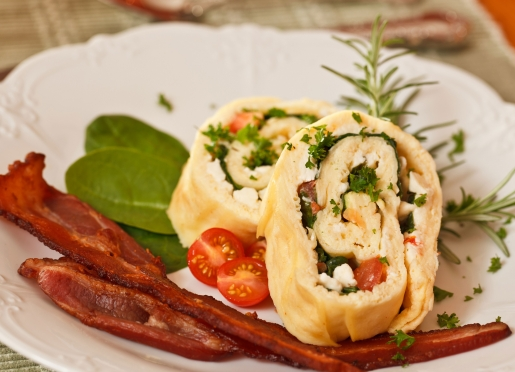 Feta, Baby Spinach, and Tomato Rolled Omelet w/ Bacon
