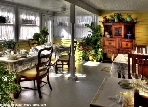 Breakfast is served each morning out on an enclosed porch.
