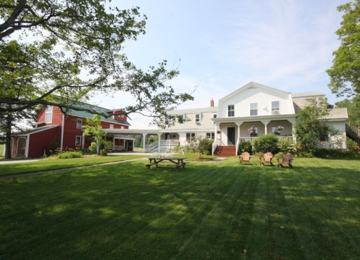 The front of the inn with Adirondack chairs in the sun or shade overlooking the animal pasture.