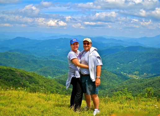 Guests enjoy panoramic views of three states on top of Big Bald Mountain (elev. 5,516')