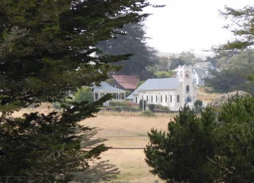 A view of the historic church in Tomales from the AppleGarden bed-and-breakfast
