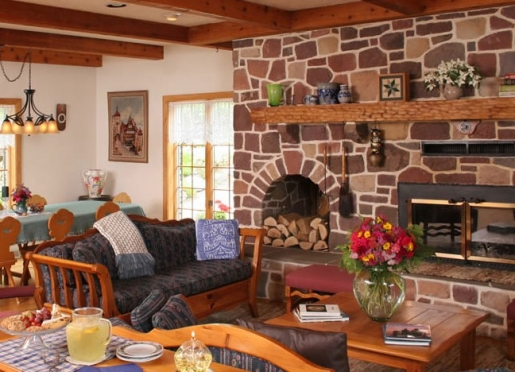Our huge sandstone fireplace with windows all around
