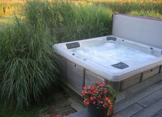 Soak your cares away in the outdoor hot tub.