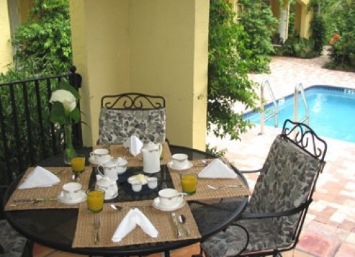 Breakfast is served daily in the dining room and on the pool terrace.