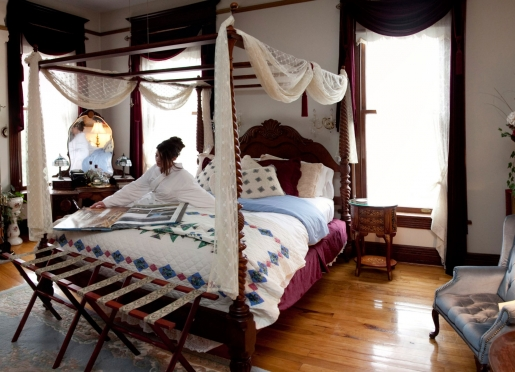 The Mary Harris Room with a queen full-canopy bed and whirlpool for two.