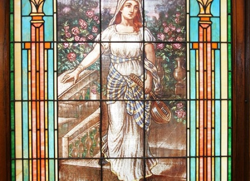 Tiffany stained glass window - St. Cecelia patron saint of musicians