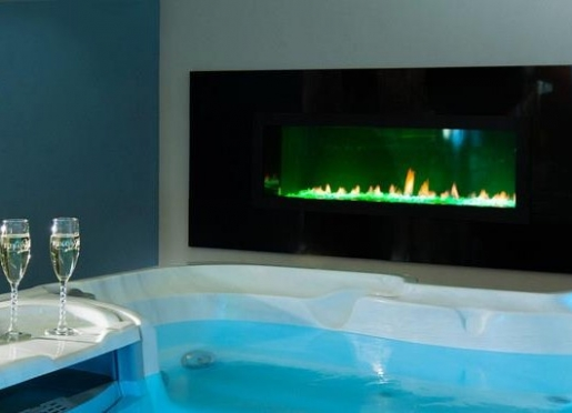 Linear Fireplace by the Hot Tub