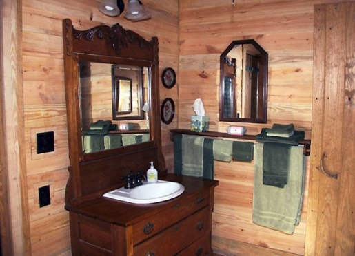 Rustic old fashion style bathroom with modern amenities.