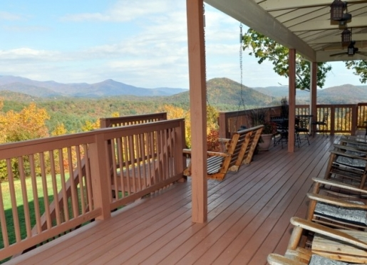 Sit for a spell on the back deck to watch the beautiful scenery of the Blue Ridge Mountains