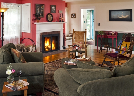 Enjoy afternoon coffee or tea and cookies by the fire in the off season.