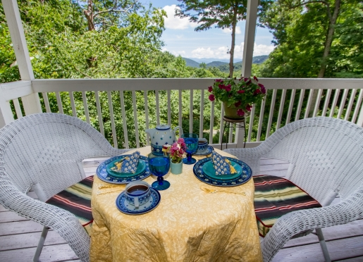 Morning on the porch, cool air, mountain vistas and the sound of the creek.