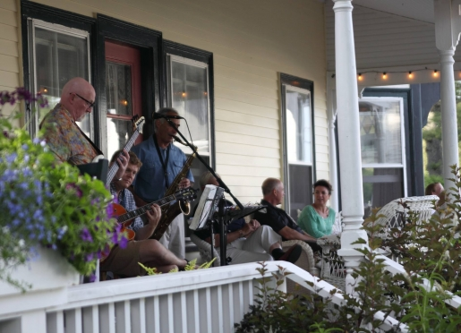 Live jazz on the porch Tuesday evenings in the summer with the Night & Day Trio