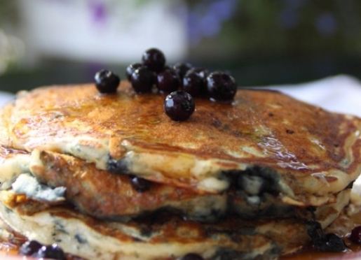 Fresh Maine blueberry pancakes are a favorite way to start your day.