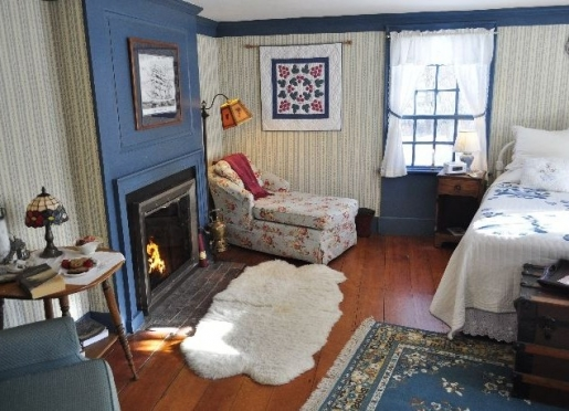 Blue room with cozy fireplace