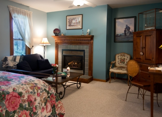 Hickory is our largest room, queen bed, plus a twin, with propane fireplace and large two room bath.